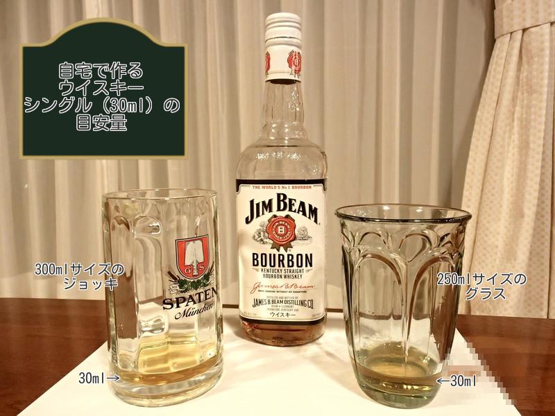ジョッキとグラスに入れたウイスキー