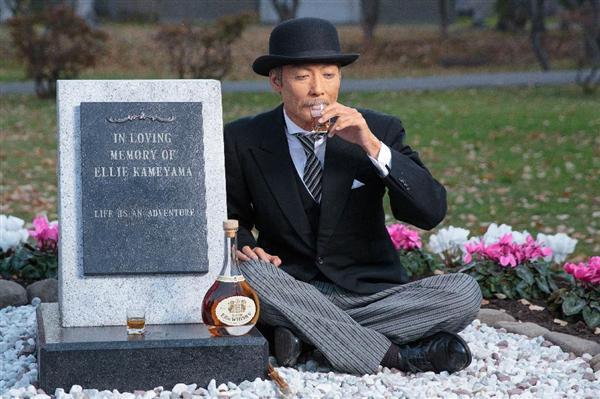 エリーのお墓に受賞を報告するマッサン