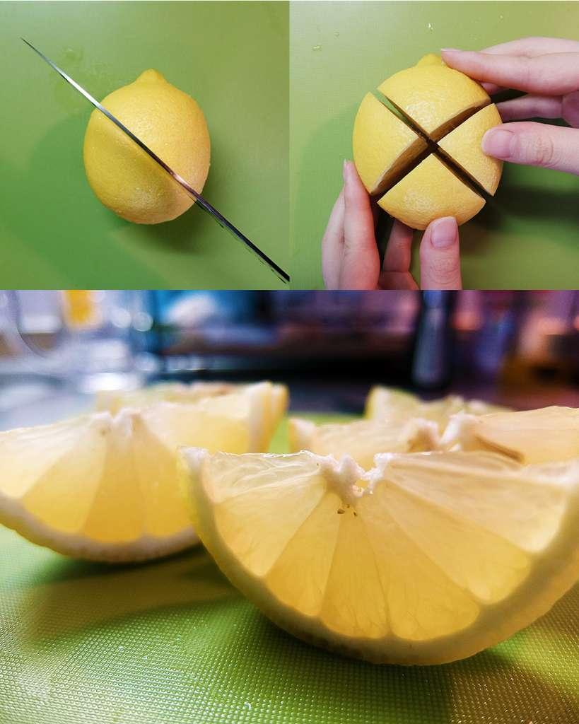 レモンはエックス型に切ると断面がきれいですよ~