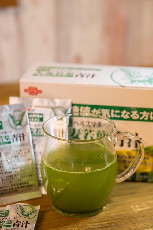 ヘルスマネージ大麦若葉青汁をホットで飲む