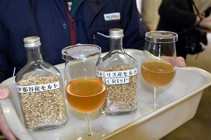 マルス信州蒸溜所では地元産の二条大麦「小春二条」を100%使った仕込みも行う