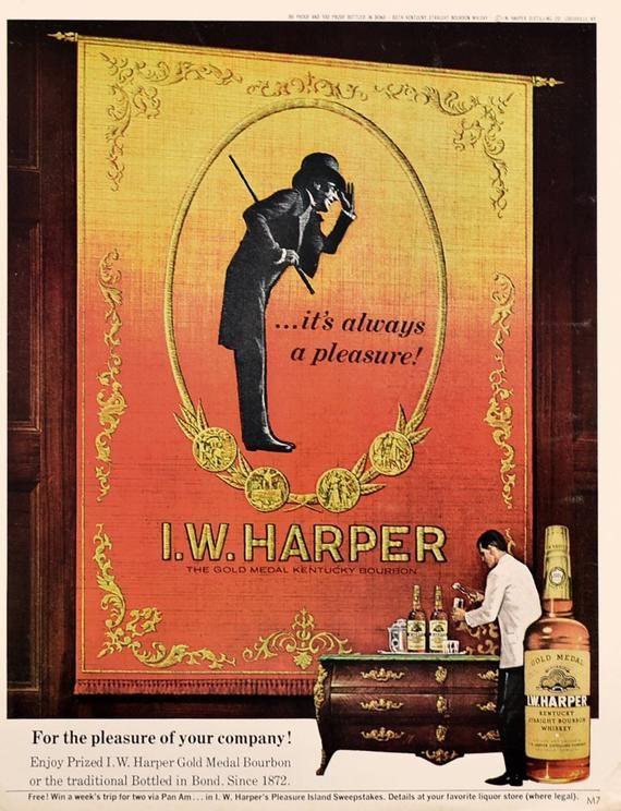 I.W.ハーパーの広告/シルクハットの紳士