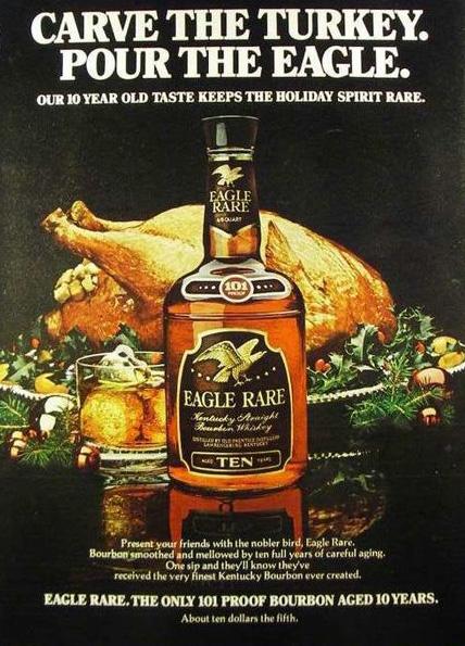 「CARVE THE TURKEY. POUR THE EAGLE.(七面鳥を切り分けて、かわりに鷲を注げ)」というポスター